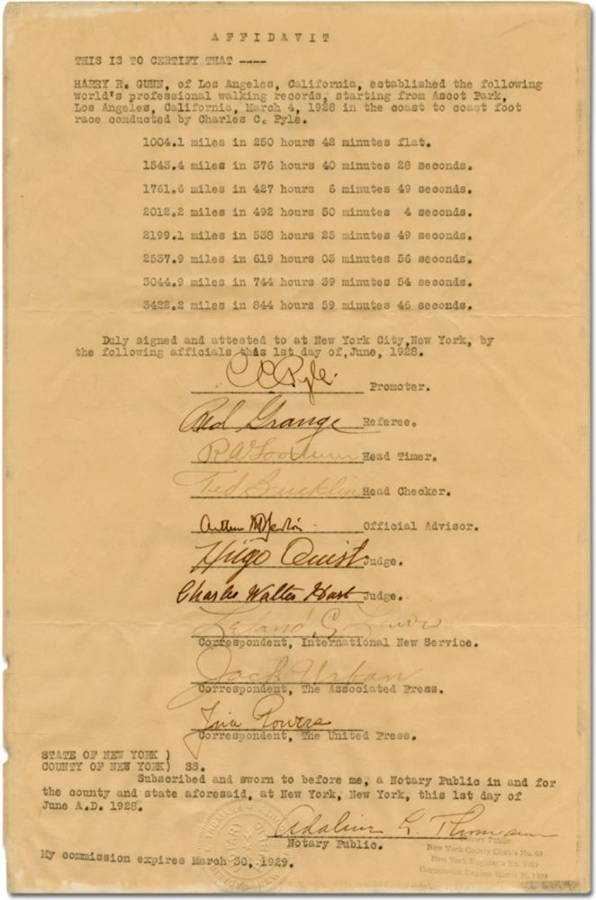 Affidavit of records set by Harry R. Gunn during The Great American Foot Race in 1928. Harry R. GUNN, Red Grange C C. Pyle.