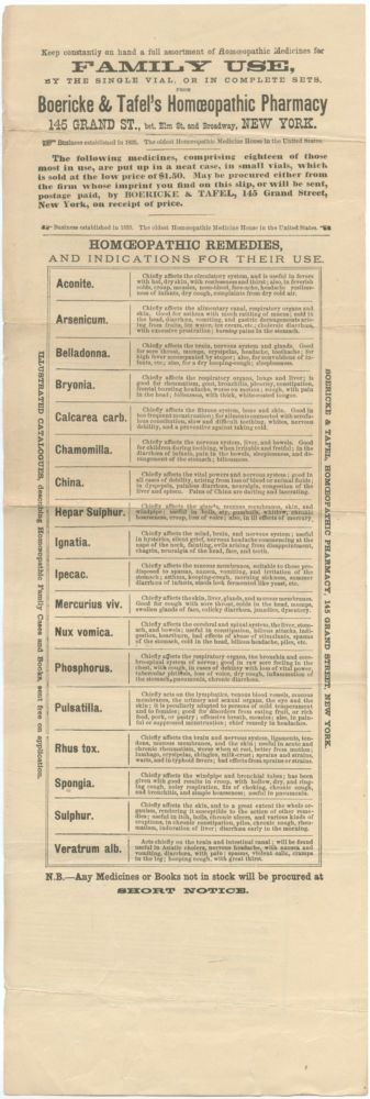 [Broadsheet]: Homoeopathic Medicine for Family Use, By the Single Vial, or in Complete Sets. Boericke & Tafel's Homoeopathic Pharmacy 145 Grand St. ... New York