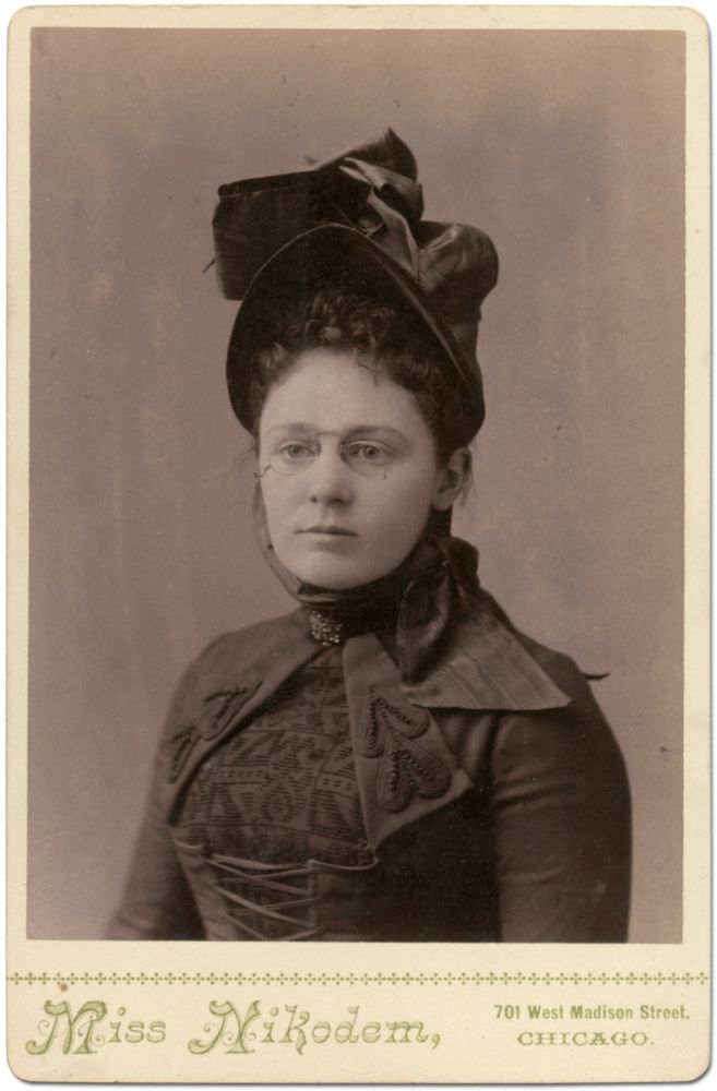 Cabinet Card Photograph of a Woman by Chicago's Only Professional Woman Photographer