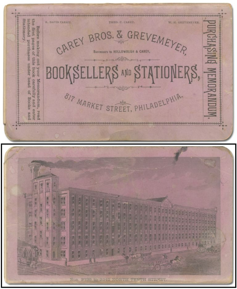 [Account book]: Purchasing Memorandum. Carey Bros. & Grevemeyer, Successors to Hollowbush & Carey, Booksellers and Stationers