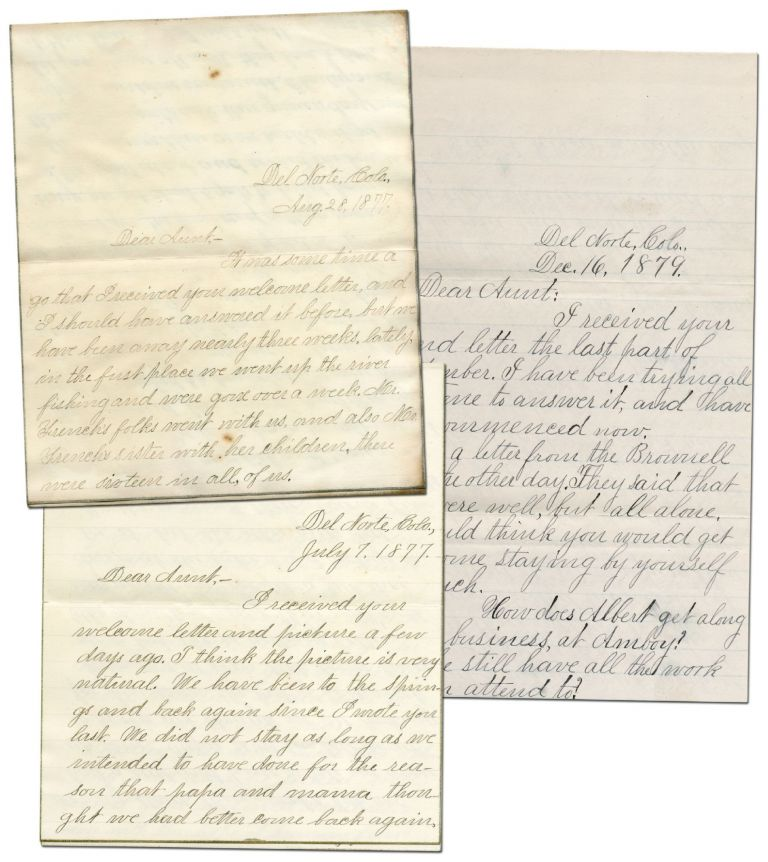 Three Autograph Letters Signed to her aunt about family life and silver mining in Colorado. PHILLIPS, Terressa.