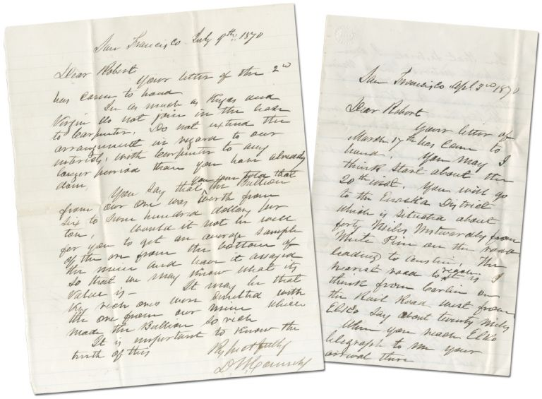 Two Autograph Letters Signed about Silver mining in Nevada. . W. CONNELY, avid.