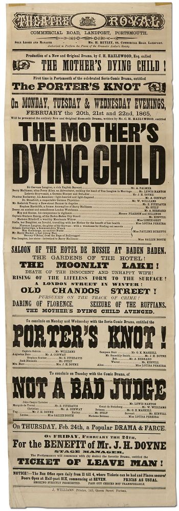 [Broadside]: Theatre Royal... Portsmouth... Production of a New and Original Drama by C.H. Hazelwood, Esq. called The Mother's Dying Child!