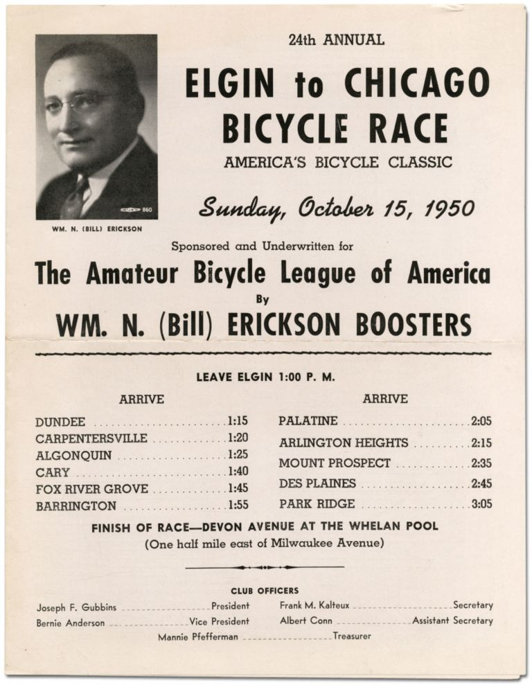 [Broadsheet]: 24th Annual Elgin to Chicago Bicycle Race ... 1950
