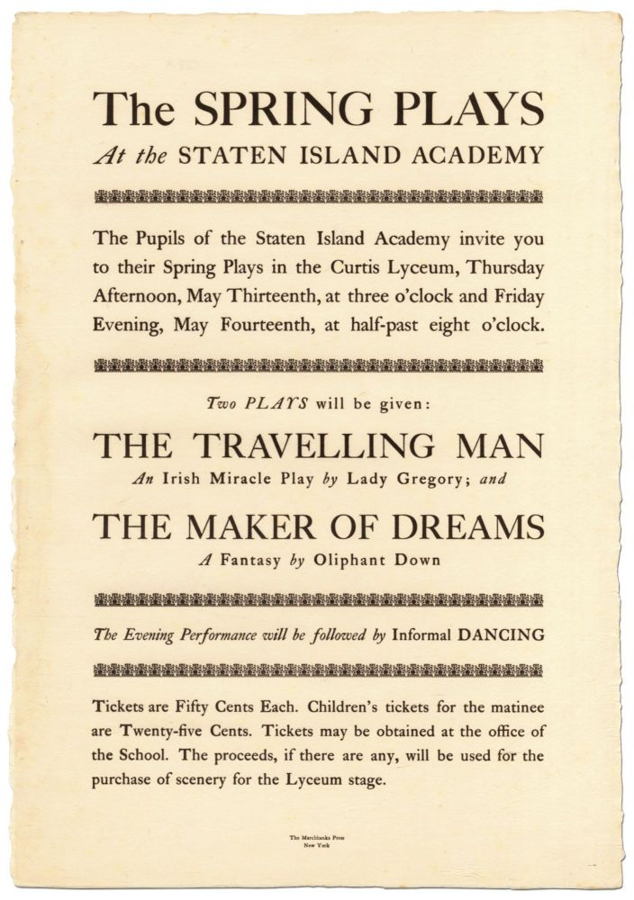 [Broadside]: The Spring Plays at the Staten Island Academy