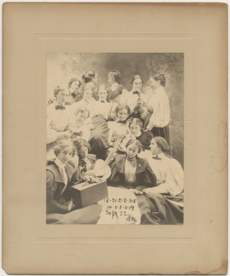 Photograph]: Albumen Photograph of School Girls Acting Up 1896