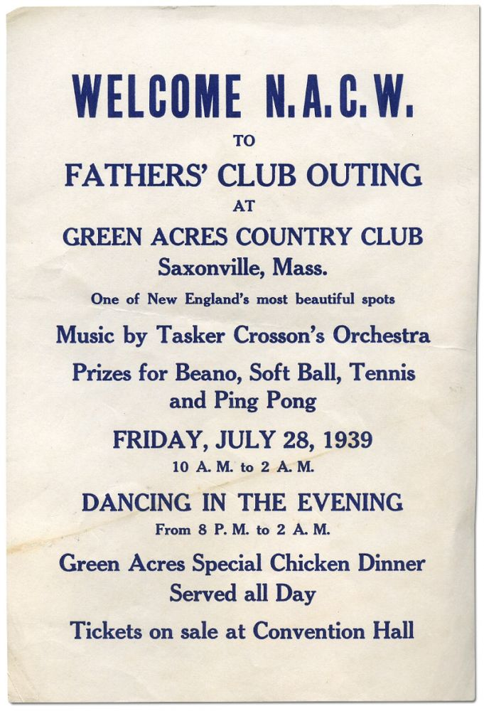 [Small Broadside or Handbill]: Welcome N.A.C.W. to Father's Club Outing at Green Acres Country Club Saxonville, Mass