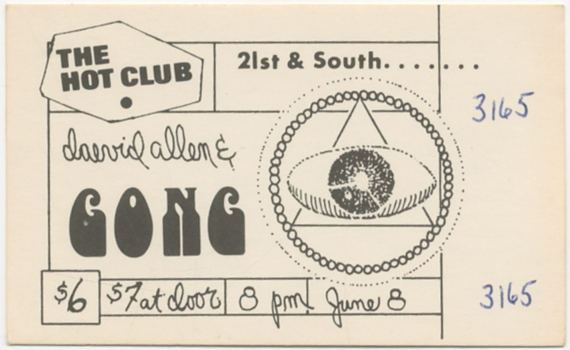 [Ticket]: Daevid Allen & Gong. The Hot Club. June 8 [1979]. Daevid and Gong ALLEN.