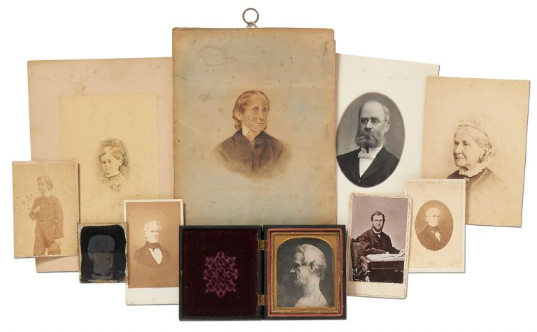 Previously Undiscovered Quarter Plate Daguerreotype Portrait of Horace Mann, along with a Small...