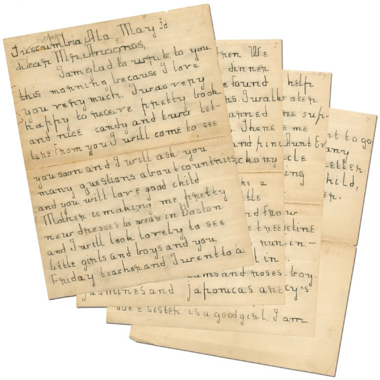 Four Page Autograph Letter Signed, written to Michael Anagnos when Keller was Seven Years Old. Helen KELLER.