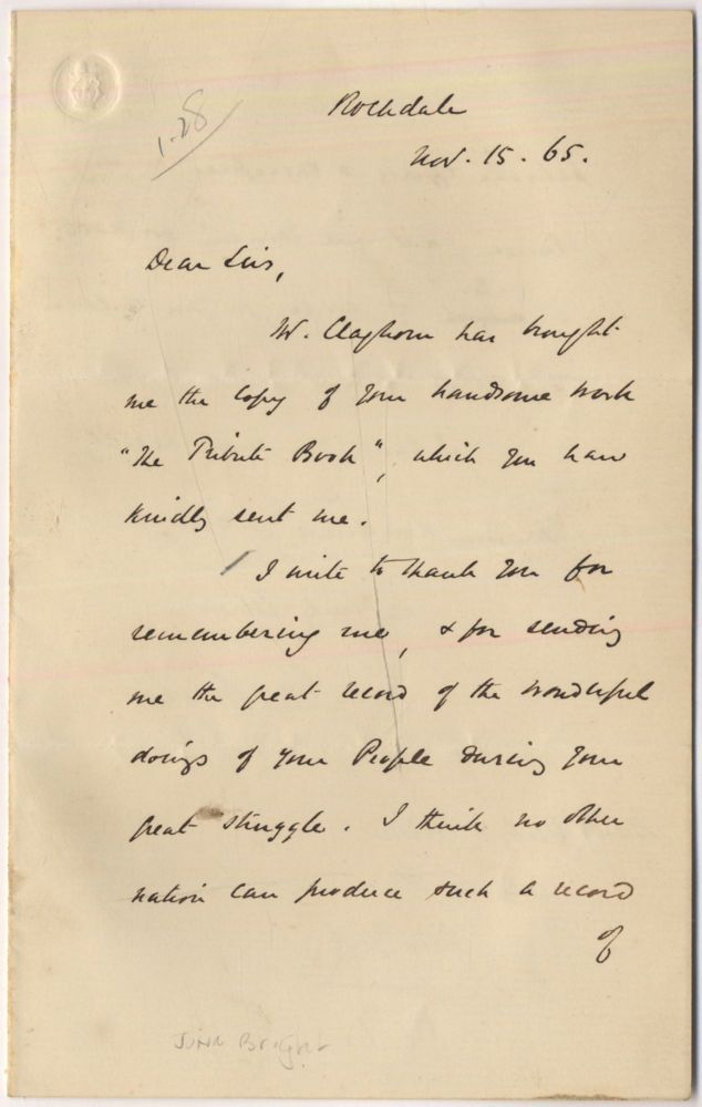"Autograph Letter Signed (""John Bright"") to New York publisher's Derby and Miller"