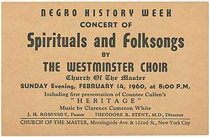 Negro History Week concert of Spirituals and Folksongs by The Westminster Choir. Countee CULLEN.