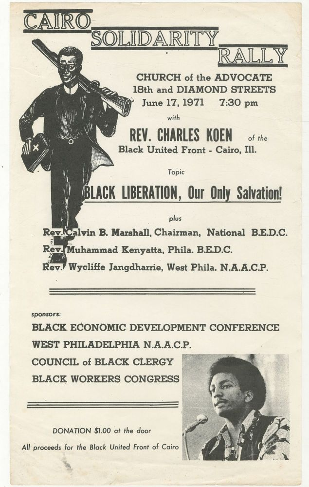 [Broadside]: Cairo Solidarity Rally, June 17, 1971 - Black Liberation, Our Only Salvation!