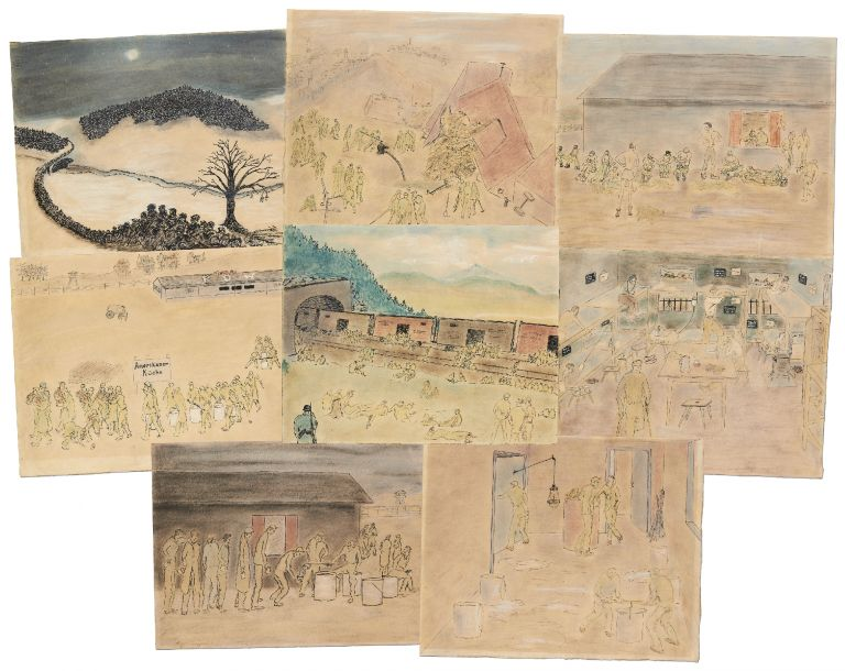Original World War II American POW Watercolor Drawings
