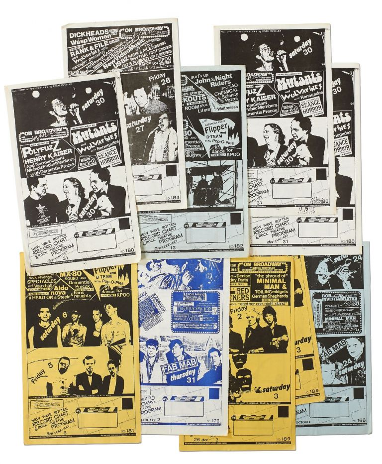 [Flyers]: Dirksen - Miller Production concert flyers for the local Bay Area punk scene. NO: 166,176,180,181,182,184,189