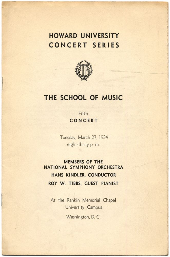 [Program]: Howard University Concert Series. The School of Music. Fifth Concert