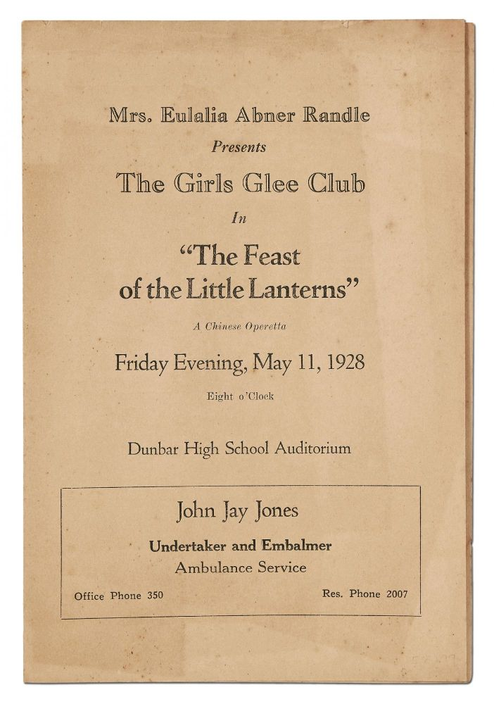 """[Program]: Mrs. Eulalia Abner Randle Presents The Girls Glee Club in """"The Feast of the Little Lanterns,"""" A Chinese Operetta, Friday Evening, May 11, 1928"""