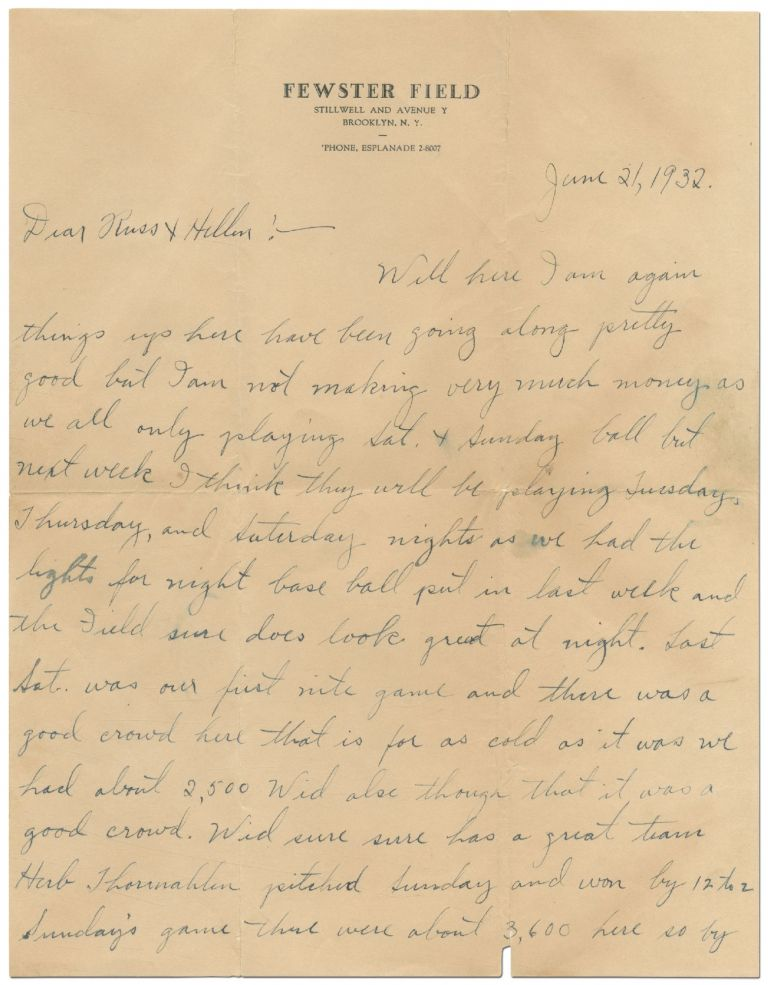 Autograph Letter Signed relating to Brooklyn's Fewster Field. Leslie FEWSTER.