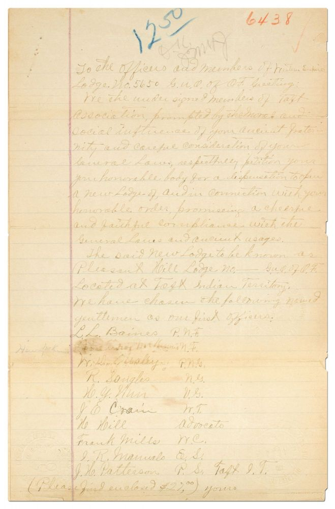 [Manuscript]: Petition to Found a Chapter of an African-American Fraternal Lodge in Pleasant Hill, Indian Territory