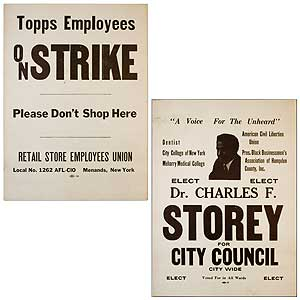 """[Double-sided Broadside]: """"A Voice for the Unheard"""" Elect Dr. Charles F. Storey for City Council [and] Topps Employees on Strike. Please Don't Shop Here"""