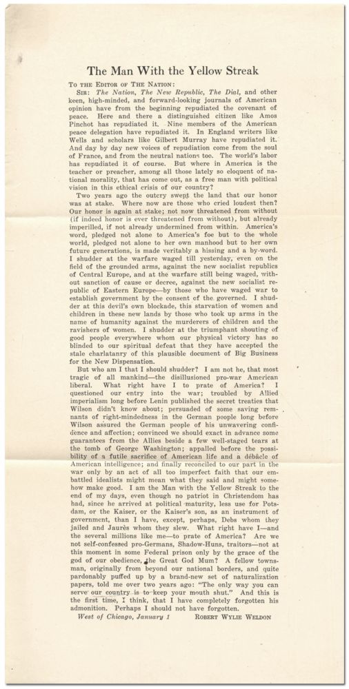 [Broadside]: The Man with the Yellow Streak. To the Editor of The Nation. Robert Wylie WELDON.