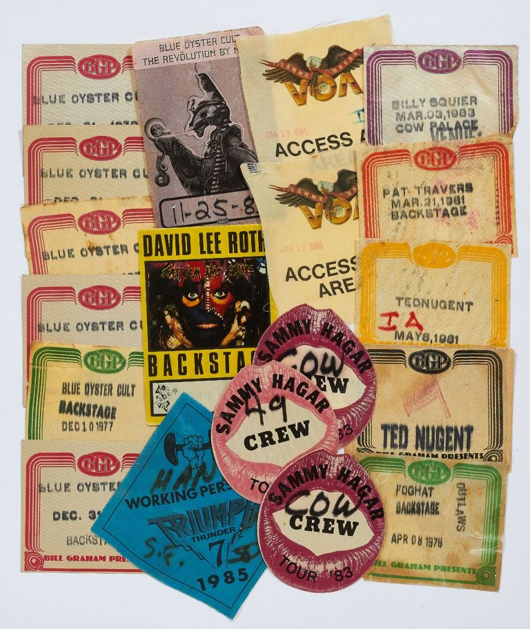 Back Stage Passes or Patches for Various Heavy Metal Music Tours, 1980-1990. Sammy Hagar Blue Oyster Cult, and more, Pat Travers, David Lee Roth.