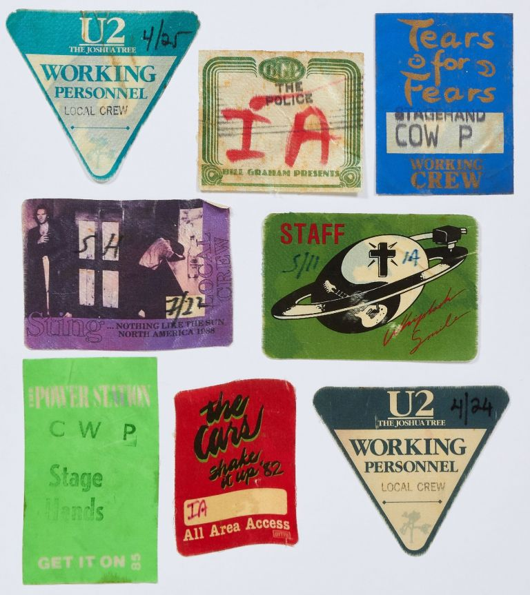 Back Stage Passes or Patches for Various New Wave Music Tours, 1980-1990. The Cure Billy Idol, The Police, Power Stations, Sting, Tears for Fears, U2.