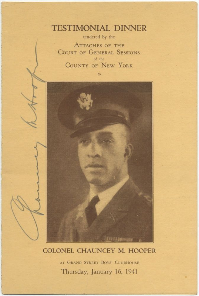 (Program): Testimonial Dinner tendered by the Attaches of the Court of General Sessions of the County of New York to Colonel Chauncey M. Hooper at Grand Street Boys' Clubhouse. Chauncey M. HOOPER.