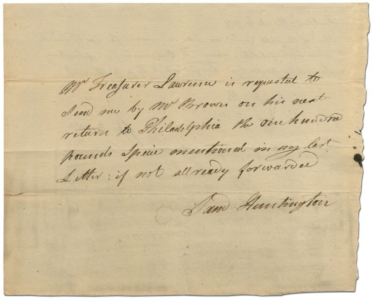 Revolutionary War Autograph Pay Order Signed by Samuel Huntington as President of the Continental Congress to Jesse Brown. Samuel HUNTINGTON.