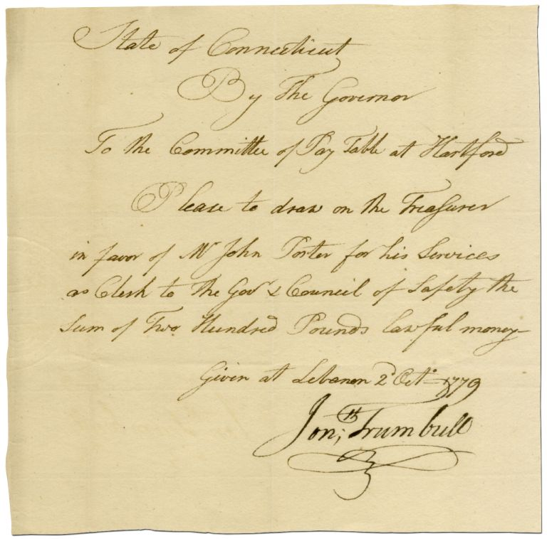 Autograph Pay Order Signed by Connecticut Governor Jonathan Trumbull during the Revolutionary War