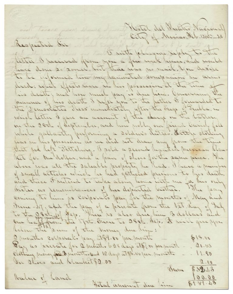 [Mexican-American War]: Autograph Letter Signed. Colonel Thomas A. ZEIGLER.