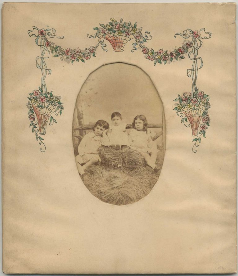Photograph of Three Small Children in a Handpainted Frame