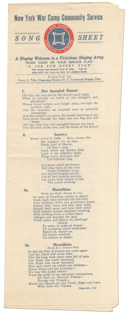 New York War Camp Community Service Song Sheet. A Singing Welcome to a Victorious Singing Army
