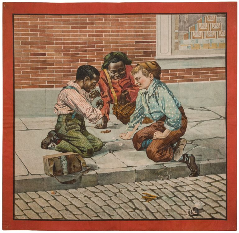 [Broadside on cloth, supplied title]: Shoe Shine Boys Playing at Dice