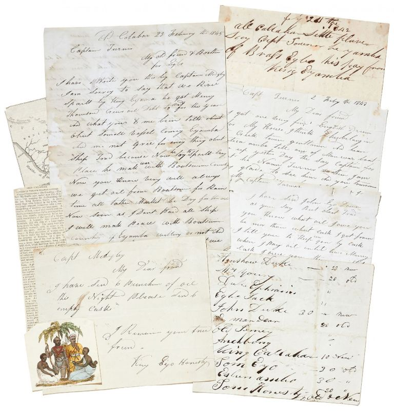 An Archive of Autograph Letters Signed from Old Calabar: written by King Eyo Honesty II of Creek Town, and King Eyamba V of Duke Town, 1842-45. Eyo Honesty II, Eyamba V.