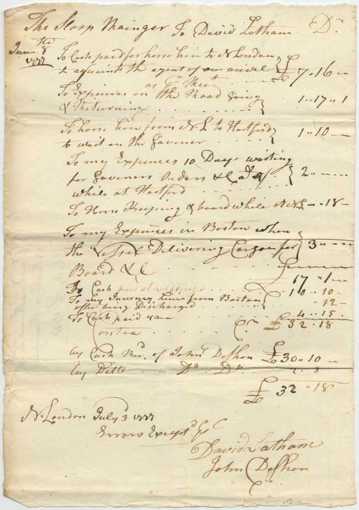 Holograph Pay Account of Captain David Latham of the Sloop Ranger (or Rainger). July 3, 1777