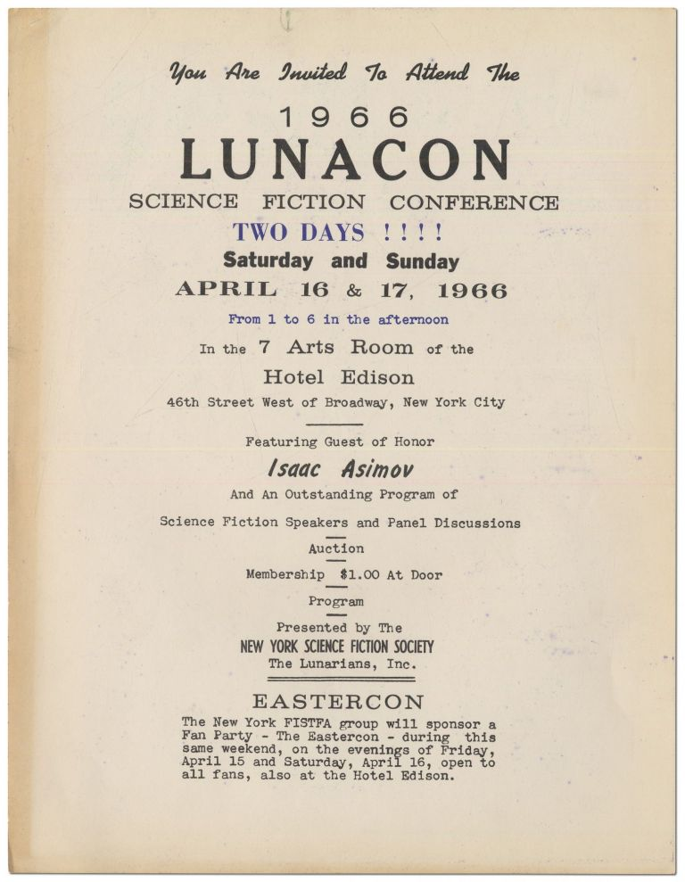 [Broadside]: You are Invited to Attend the 1966 Lunacon Science Fiction Conference. Two Days!!! Saturday and Sunday April 16 & 17, 1966. Isaac ASIMOV.
