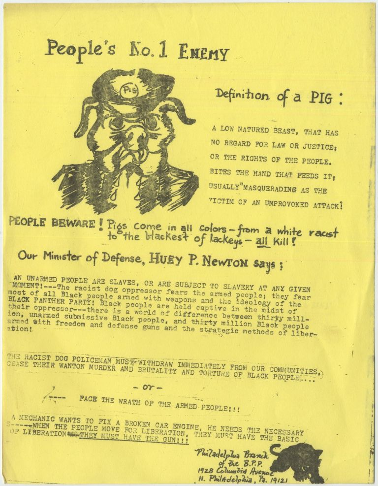 """(Black Panthers' flyer): People's No. 1 Enemy Definition of a PIG..."""""""