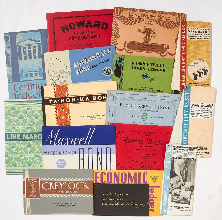 A Collection of 15 Paper Specimen Books Distributed by the Cleveland Paper Company, circa 1950s-60s