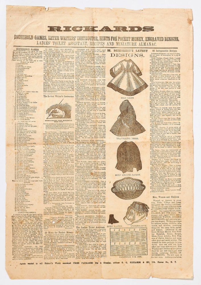 (Broadside): Rickards. Household Games, Letter Writers' Instructor, Hints for Pocket Money, Engraved Designs, Ladies Tiolet Assistant, Recipes and Miniature Almanac