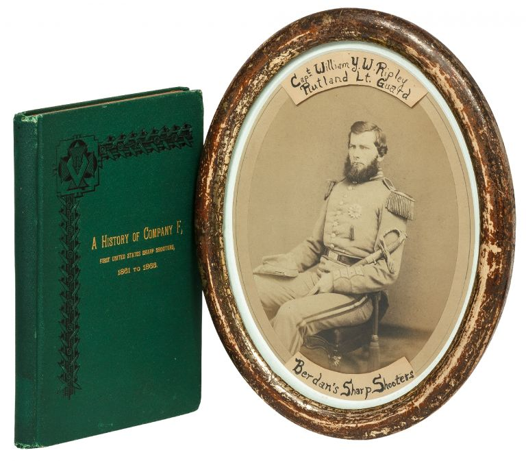 Albumen Portrait Photograph of Medal of Honor-winner Captain William Y.W. Ripley [with Book]: Vermont Riflemen in the War For The Union, 1861 to 1865. A History of Company F, First United States Sharp Shooters.