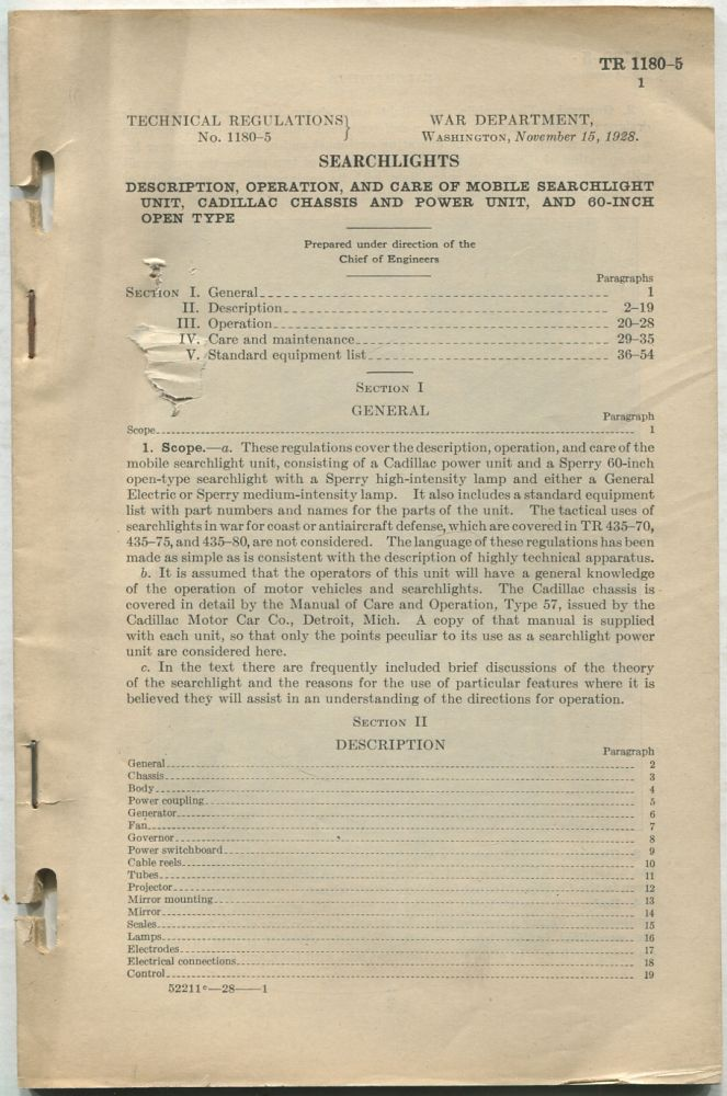 Searchlights: Description, Operation, and Care of Mobile Searchlight Unit, Cadillac Chassis and Power Unit, and 60-Inch Open Type: Technical Regulations, No. 1180-5, November 15, 1928