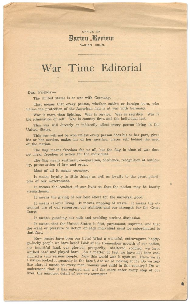 [Broadsheet]: War Time Editorial