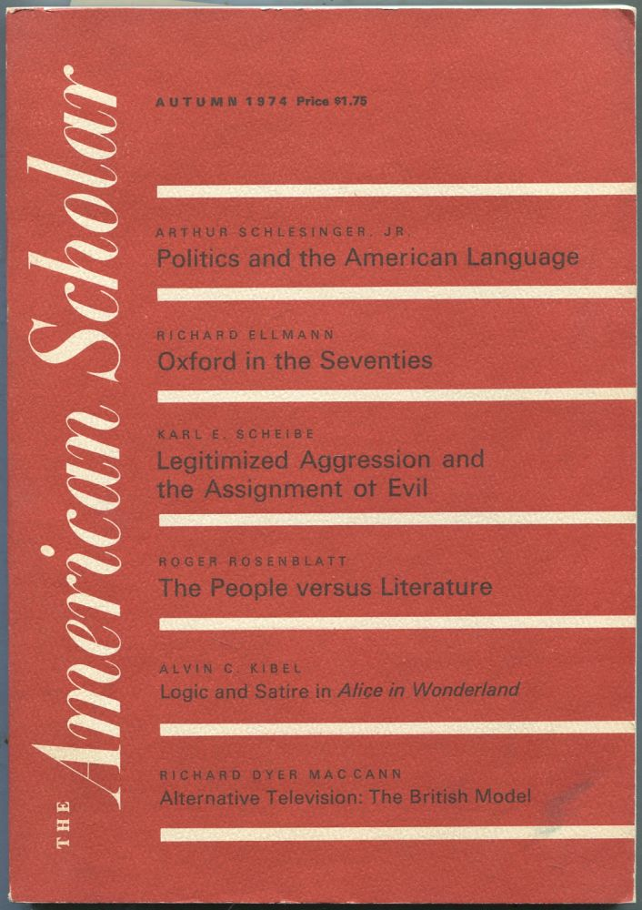 The American Scholar: Autumn, 1974, Volume 43, Number 4
