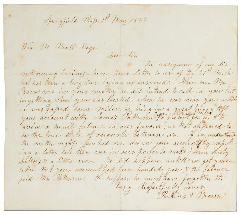 """Autograph Letter Signed (""""Perkins & Brown""""). John BROWN."""