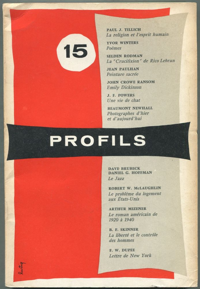 Profils: Numero 15, Printemps 1956. James LAUGHLIN, , John Crowe Ransom Yvor Winters, , B. F. Skinner, Daniel G. Hoffman, many more.