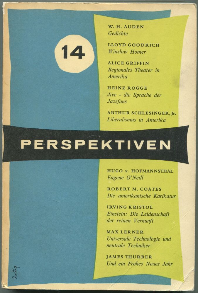 Perspektiven: Heft 14, Winter 1956. Arthur Schlesinger W H. Auden, James Thurber, Max Lerner, Jr., many more, James LAUGHLIN.