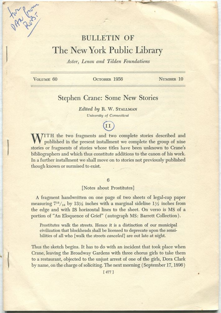 Bulletin of The New York Public Library: October 1956, Volume 60, Number 10. R. W. STALLMAN.