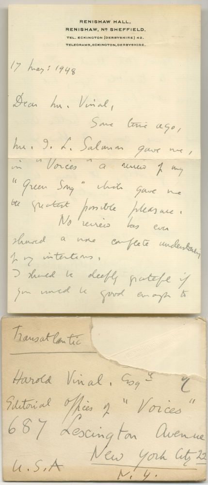 Two Page Autograph Letter Signed to Publisher Harold Vinal. Edith SITWELL.