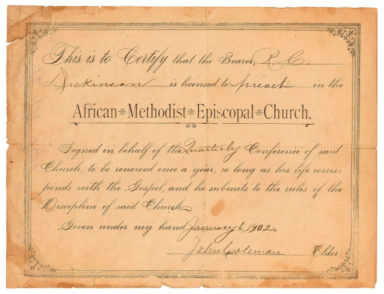 [Partially Printed Document]: License to Preach in the African Methodist Episcopal Church, 1902